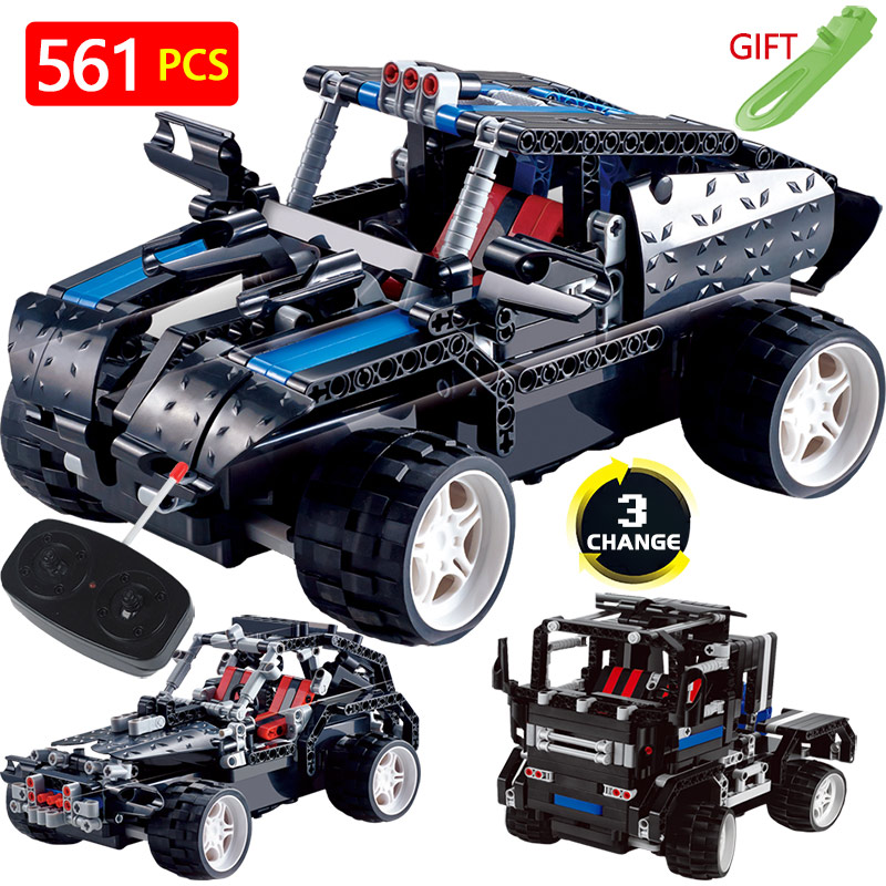 Technic Transformtion Variable LegoINGlys Vehicle Truck Offroad Radio Remote Control Machine Car Blocks DIY Toys For Children 2 in 1 rc car compatible legoinglys radio technical vehicle green suv control blocks assembled blocks children toys gift