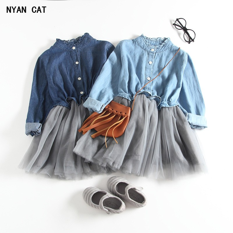 DHL EMS Free shipping Kids Toddlers Girls Children Long Sleeve Denim Tulle Dress Jean Gauze Dress 2 Colors 90-140 ct4670 used disassemble dhl ems free shipping