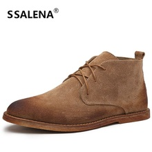 Vintage Suede Fashion Men Casual Ankle Boots Pointed Toe Lace Up Male Chelsea Boots Apring Autumn Retro Shoes AA10262