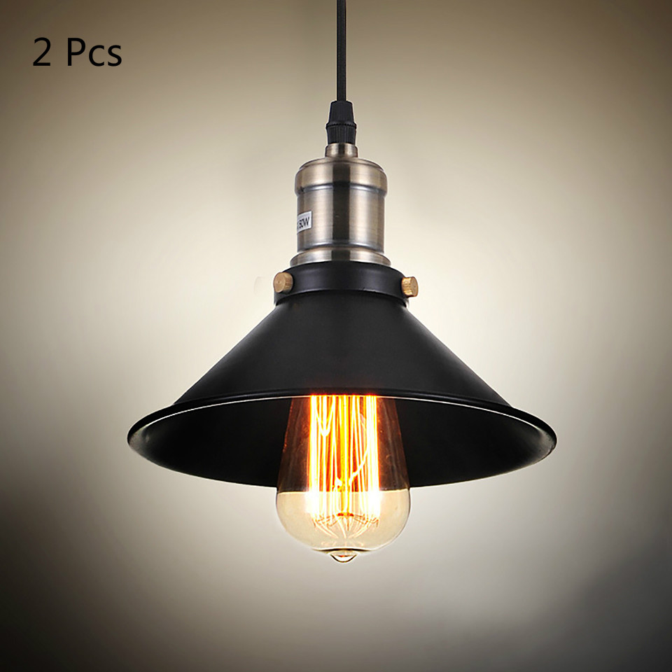 Dia 20cm Black Vintage Lampshade E27 industrial pendant light lamp shade loft style lamp cone shade,2Pieces/lot.