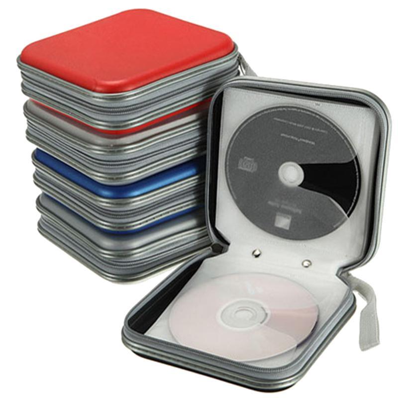 Portátil 40 pçs disco cd dvd carteira de armazenamento organizador caso caixas titular cd manga dura saco álbum caixa casos com zíper
