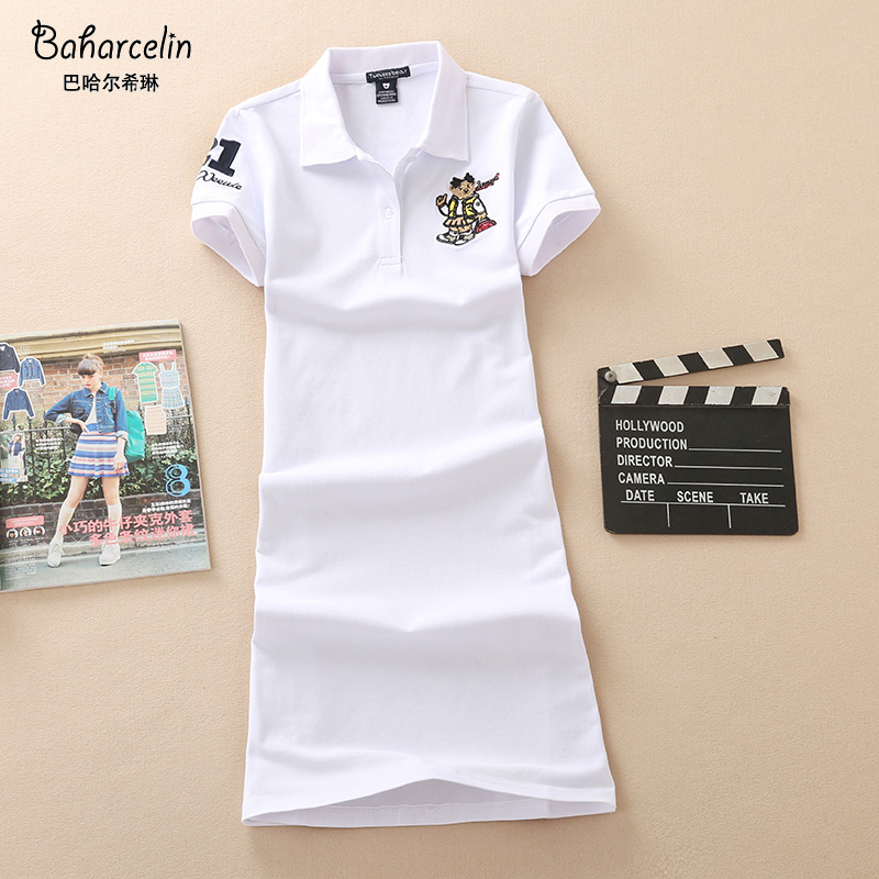 Baharcelin 2XL 3XL Embroidery Polo Casual Dresses De Festa T Shirt Femme Summer Tops Clothing One Piece Dress Ete Vestidos