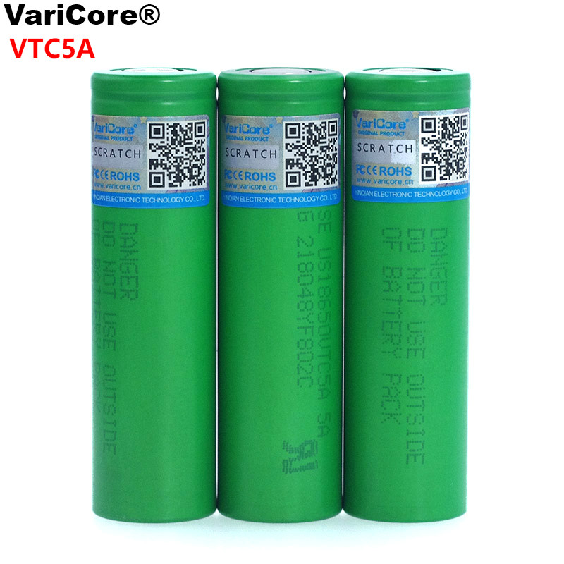 VariCore VTC5A 2600mAh 18650 Lithium Battery 30A Discharge for US18650VTC5 Electronic Cigarette ues