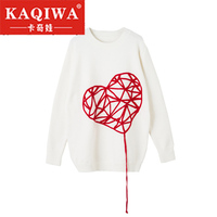 2018 autumn New Novelty Love Embroidery Long Sleeve Knitted Sweaters Women Pullover Korean Jumper Designer Brand Lady's Sweater