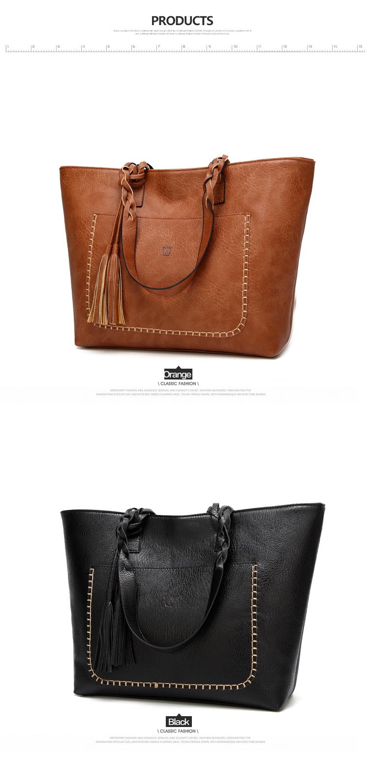 Tinkin  Vintage PU Tassel Women Shoulder Bag Female Retro Daily Causal Totes Lady Elegant Shopping Handbag 8