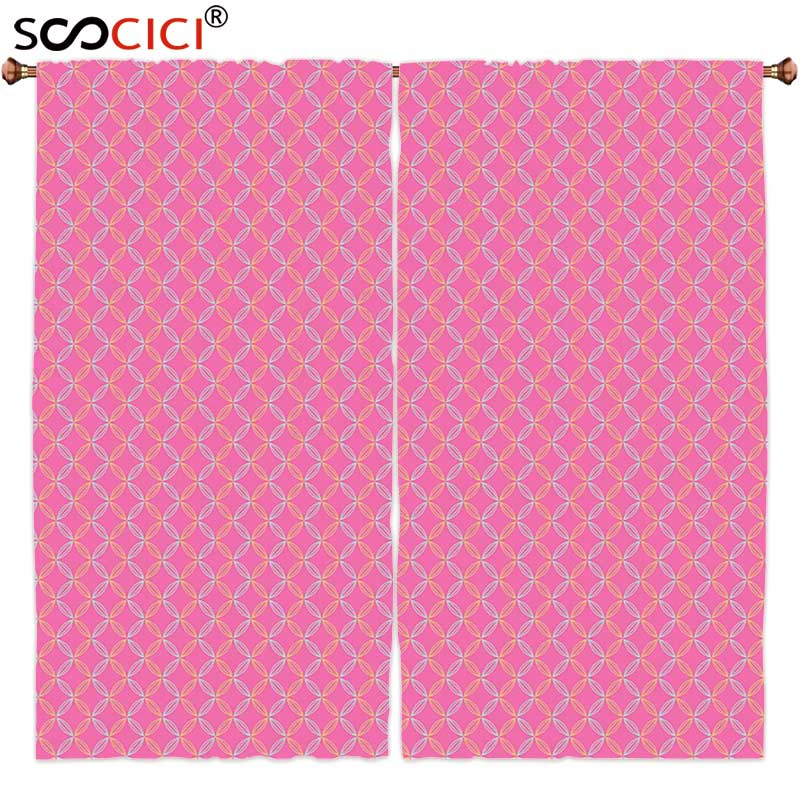 Window Curtains Treatments 2 Panels,Modern Circular Shapes with Flower Petal Motifs Repeating Spring Themed Pattern Pink Silver