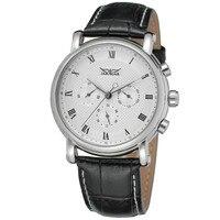 JARAGAR Pulseira de Couro Do Vintage Relógios Mens Auto Data Mecânico Masculino Relógio Montre Homme Erkek Kol Saati