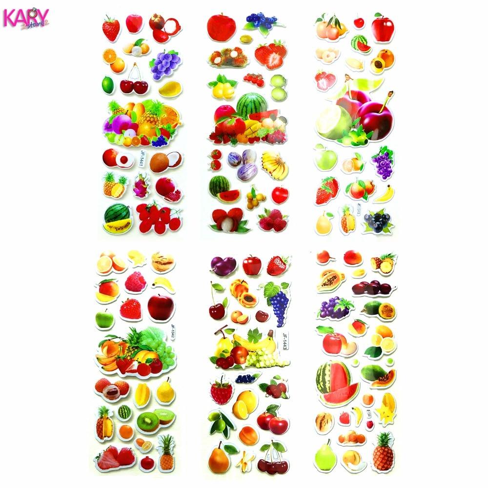 6 Sheets Real Fruits Fruitage Greens Pear Banana Grapes Scrapbooking Bubble Stickers Emoji Reward Kids Toys Factory Direct Sales