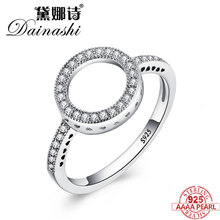 hot deal buy dainashi 2018 hot sale rings 100% genuine 925 sterling silver women ring forever clear rings for women round finger rings