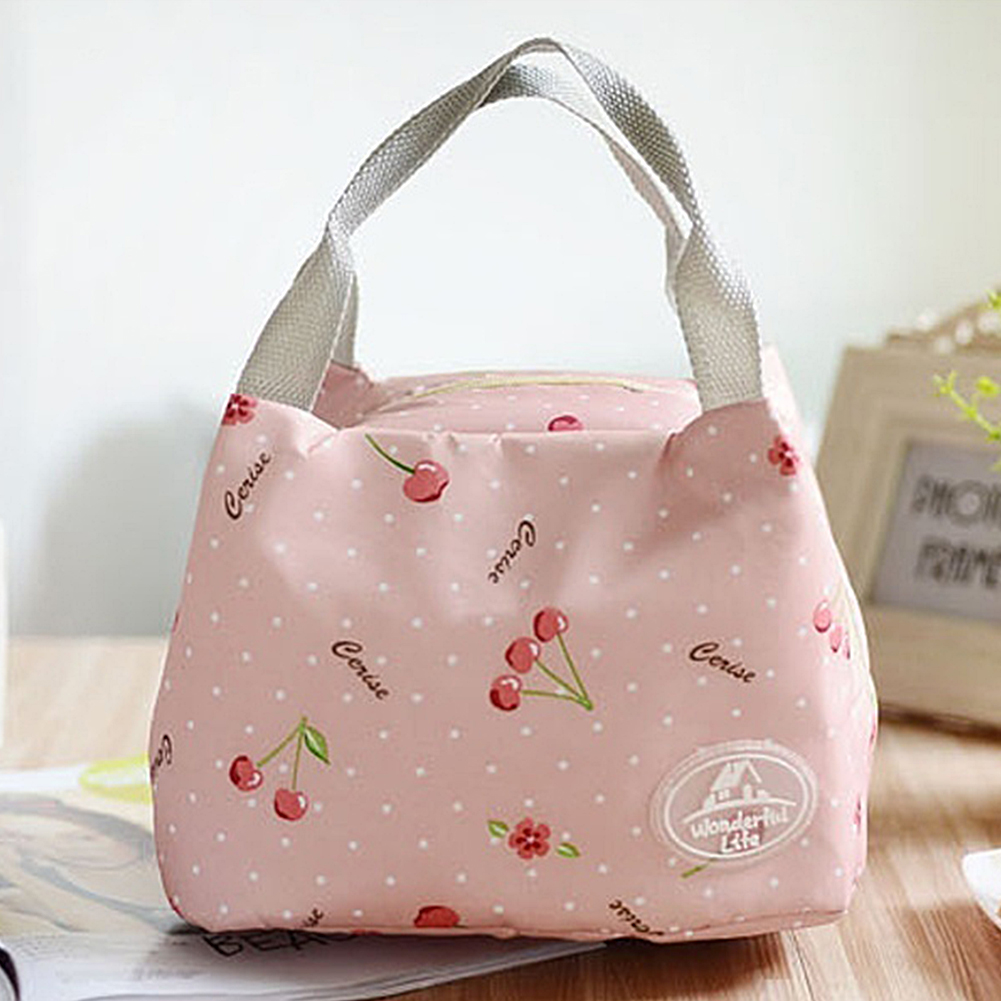Portable Insulated Lunch Bags For Women Kids Striped Floral Thermal Food Bag Lunchbag Cooler Bag Picnic Bag Bolsa Termica