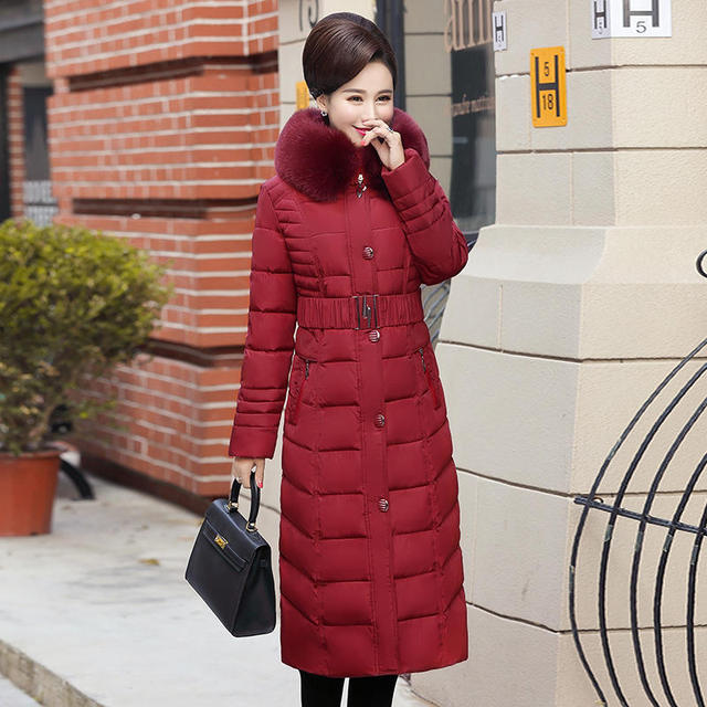 Plus Size 4XL 5XL Middle-Aged Long Winter Jacket Thicken Hooded Fur Collar Cotton Padded Jacket Female Winter Coat Women C5062 2