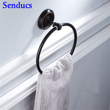 Senducs Black Towel Ring with High Quality Brass Bathroom Towel Ring and Cheap Price Bath Antique Towel Ring(China)