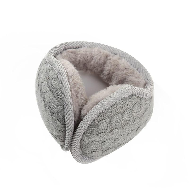 AZUE Winter Earmuffs Warm Wool Knitted Ear Warmer Foldable Faux Cashmere Ear Muff Ear Cover Back Wear Earflap For Men Women