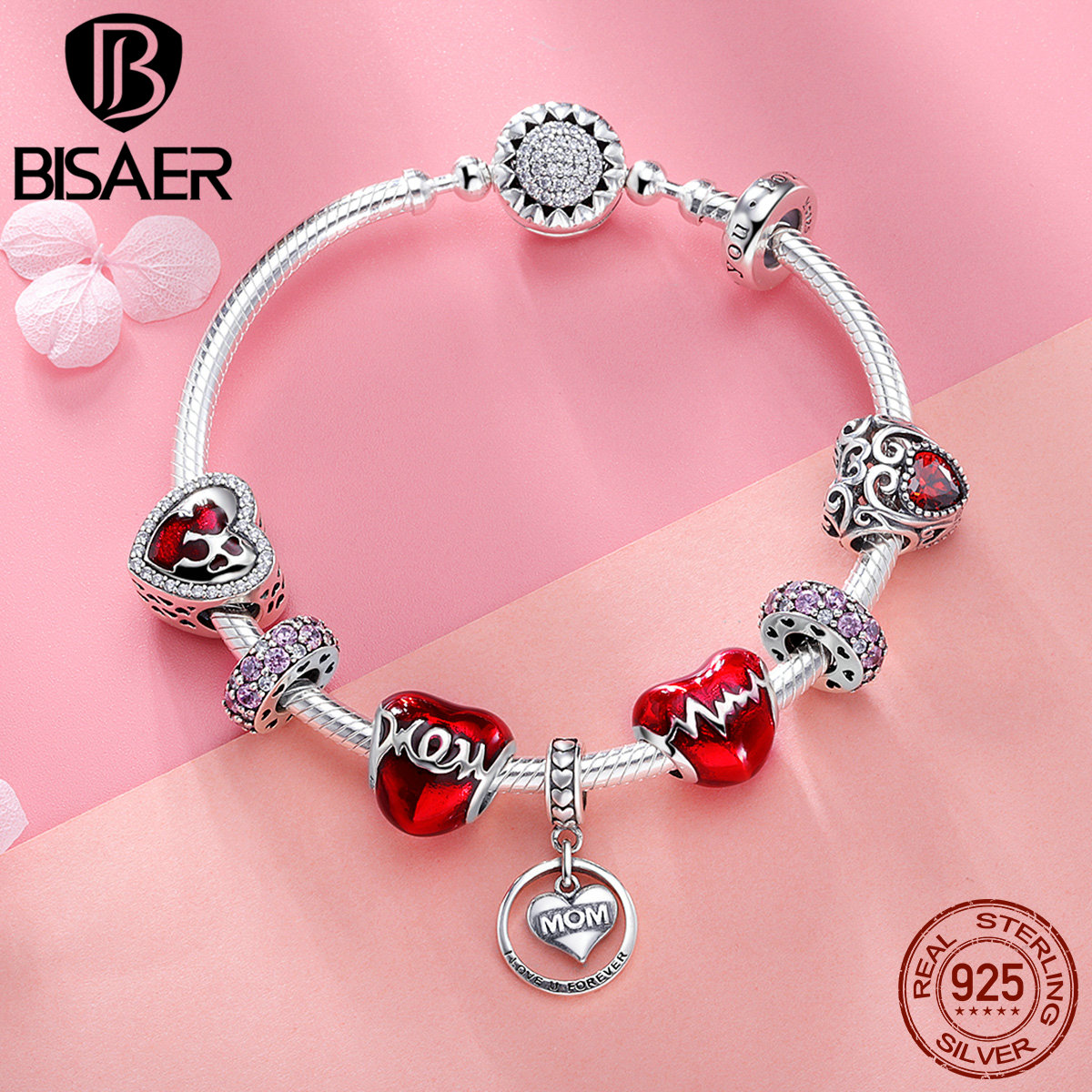 BISAER 9pc Authentic 925 Sterling Silver Mom Letters Red Heart Enamel Charm Bracelet For Women Mother