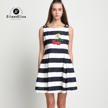 Summer Dress Women 2017 Runway Striped Ladies Party Casual Cute Dresses