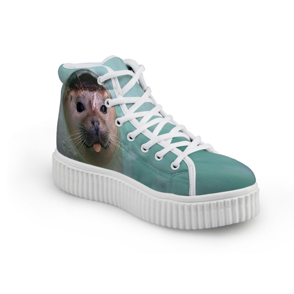 Noisydesigns النساء منصة الأحذية المسطحة - أحذية المرأة