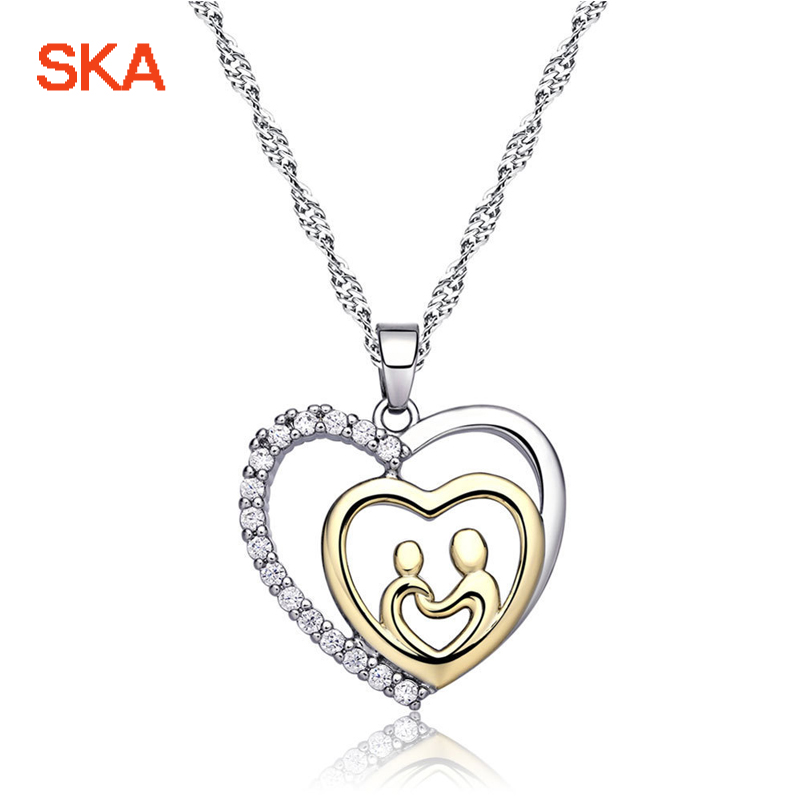 SKA Necklaces For Women Heart Shape Women Pendant Necklace Silver Color Crystal Water-Wave Chain Personality Jewelry N191