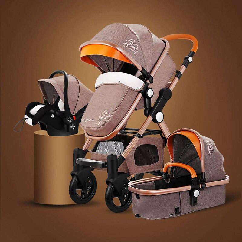 3 en 1 bébé poussette poussette pliante chariot bébé poussette pour nouveau-nés en cuir landau
