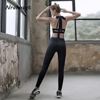 NRAHBSQT Sport Fitness Women Running Sportswear Soft Yoga Jumpsuit One Piece Workout Jumpsuit Gym Dance Rompers Overalls YS101