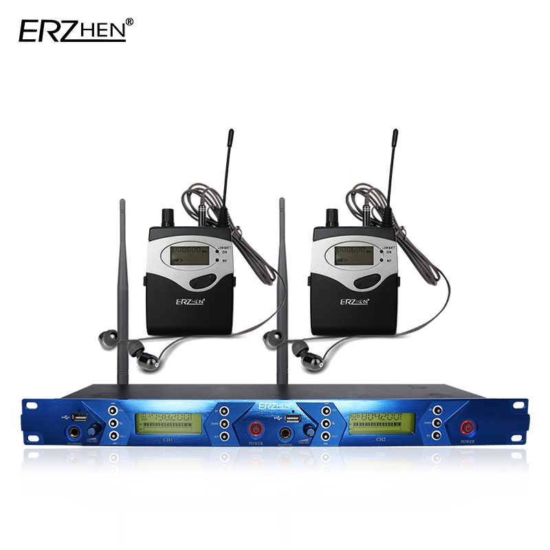 2 Pack Receivers Wireless In Ear Monitor System Professional Dual Channels Transmitter lapel wireless microphone UHF