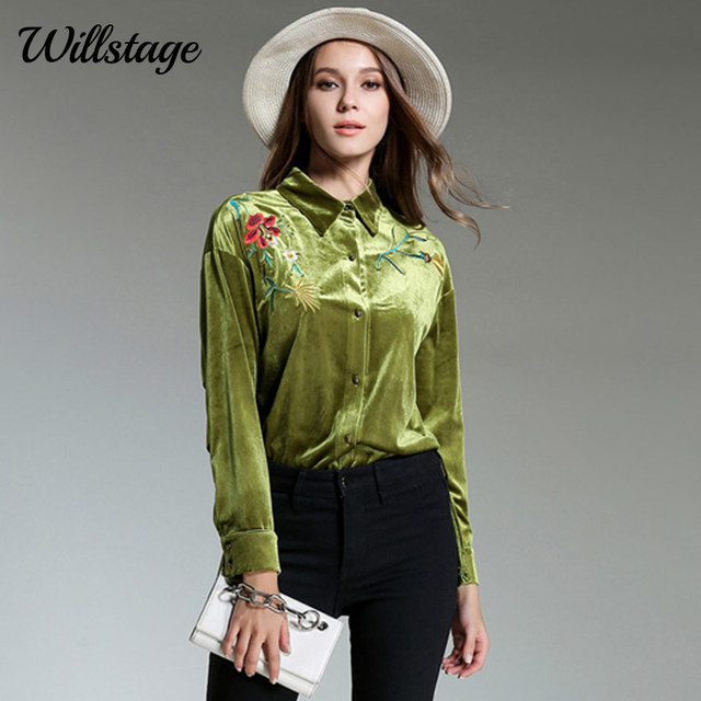 735ebe0e635 Willstage 2018 Spring Green Velvet Shirts Women Floral Printed Embroidery  Blouse Long Sleeve Shirt Elegant Tops Office ladies