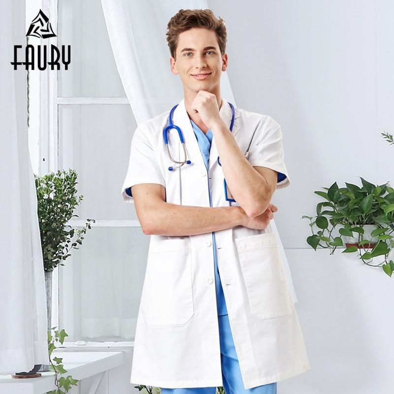 Men's Short-sleeved White Coat Summer Hospital Medical Doctors Physician Wear Women Beauty Salon Lab Work Uniforms Overalls