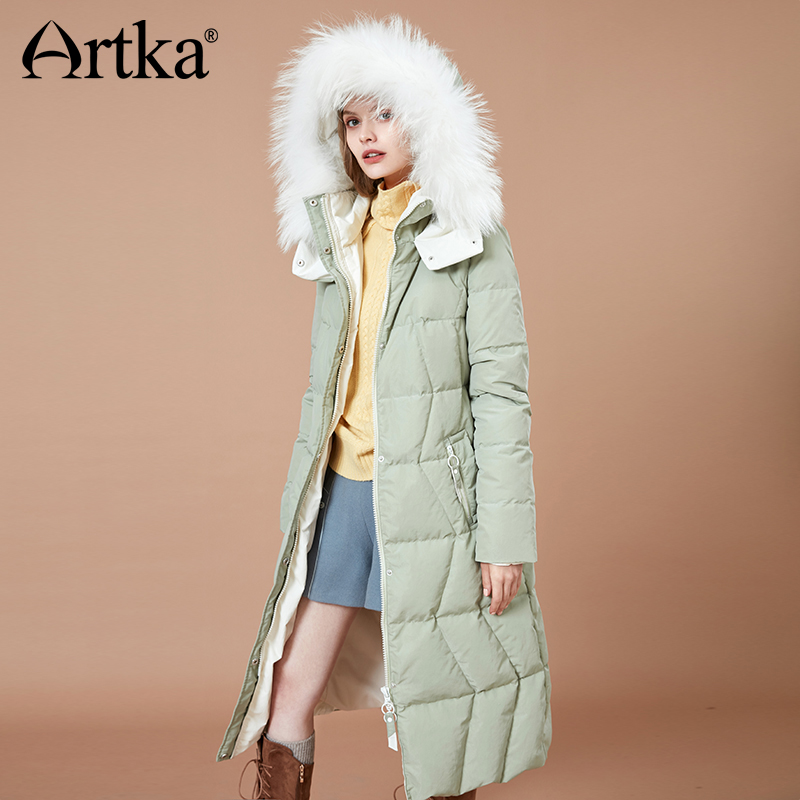 ARTKA 2018 New Women Long Thick Fur Collar Hooded 90% White Duck Down Winter Coat Warm Solid Outerwear YK10784D
