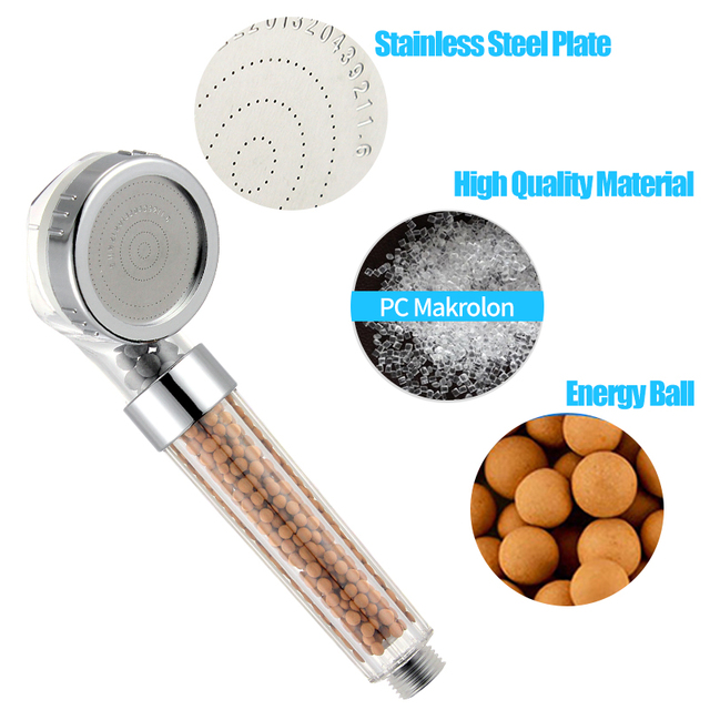 ZhangJi Bathroom Water Therapy Shower Anion SPA Handheld Shower Head Water Saving Rainfall Filter Shower Head High Pressure ABS