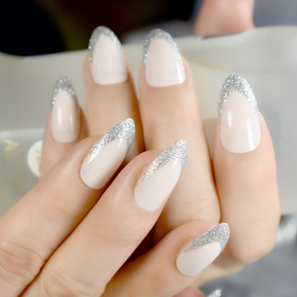 24pcs Glitter Beige French Stiletto False Nail Light Natural Silver Nails DIY Art Full Cover Acrylic Tip In From Beauty