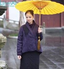 LinenAll clothing women's red  linen and hemp coat, long sleeve coat, cotton-wadded purple coat Embroidery jacket overcoat MUYI