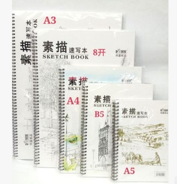 Professional notebook Painting Paper 160G A3 Drawing paper blank Sketch 24 sheets Office School Supplies Painting ASS034 notebook a4 inside page spiral 60 sheets 3 hole filler paper blank and line kraft paper office and school supplies writing pads