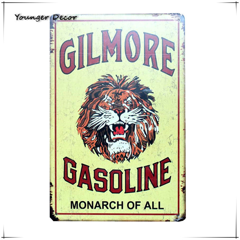 VINTAGE STYLE METAL SIGN Gilmore Lion Head Gasoline Oil 48 x 20