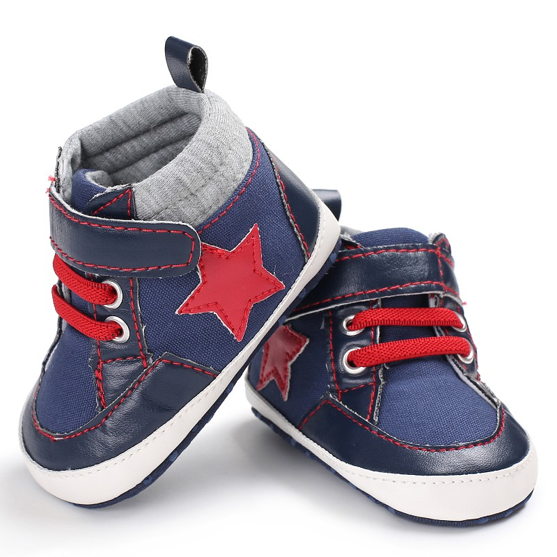 2018 First Walkers New Stars Printing Canvas Classical Baby Moccasins Baby Boys Shoes Soft Sole First Walkers 0-12month M2