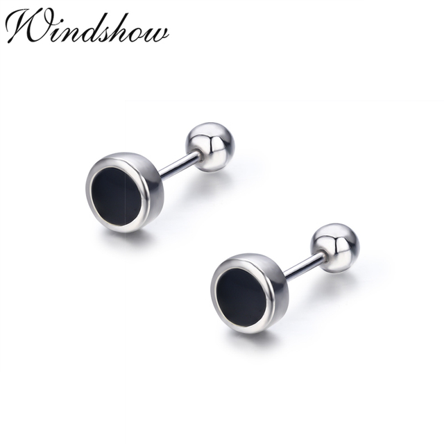 Cute Small Black Round 925 Sterling Silver Stud Earrings For Women S Kids Piercing Jewelry