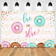 Neoback Donut Gender Reveal Baby Shower Photo Background Photophone Newborn Cake Surprise Photography Backdrops