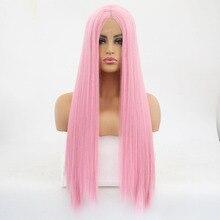 Charisma 150% плотность бесклеевой натуральный прямой синтетический парик фронта шнурка Glueless термостойкие парики со средней частью розовый парик