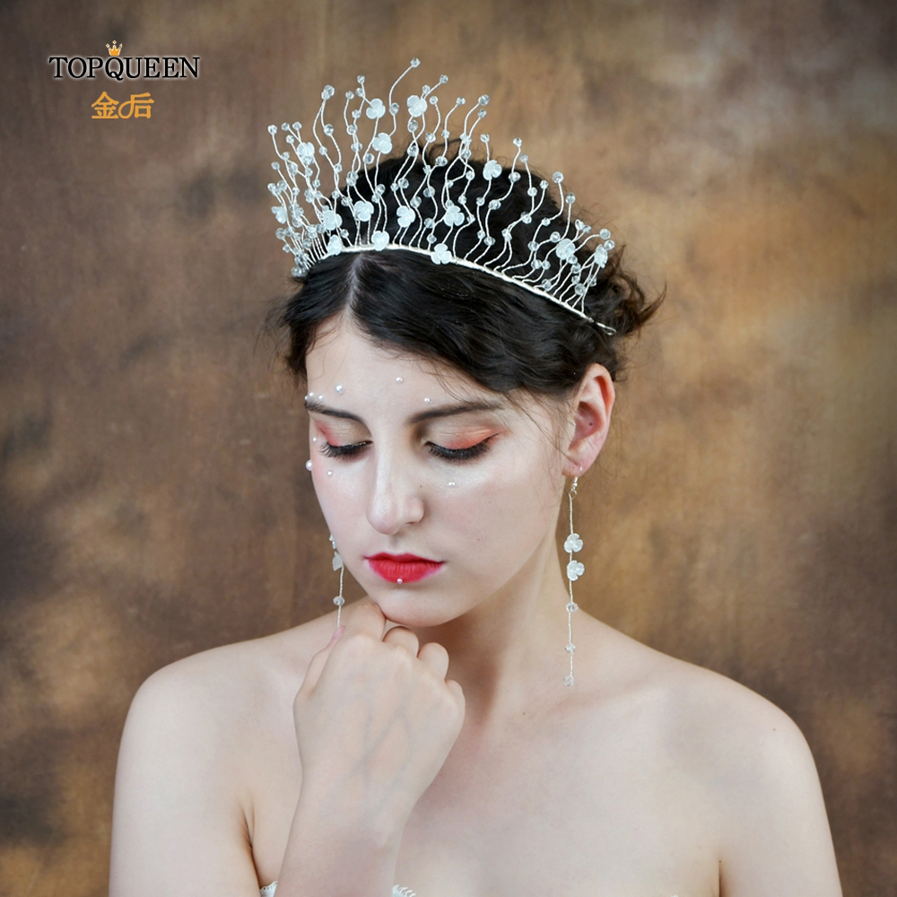 TOPQUEEN Luxury Clear Crystal Bridal Tiara Resin Flower Wedding Tiara And Crown Bride Hair Jewelry Wedding Headpieces HP204
