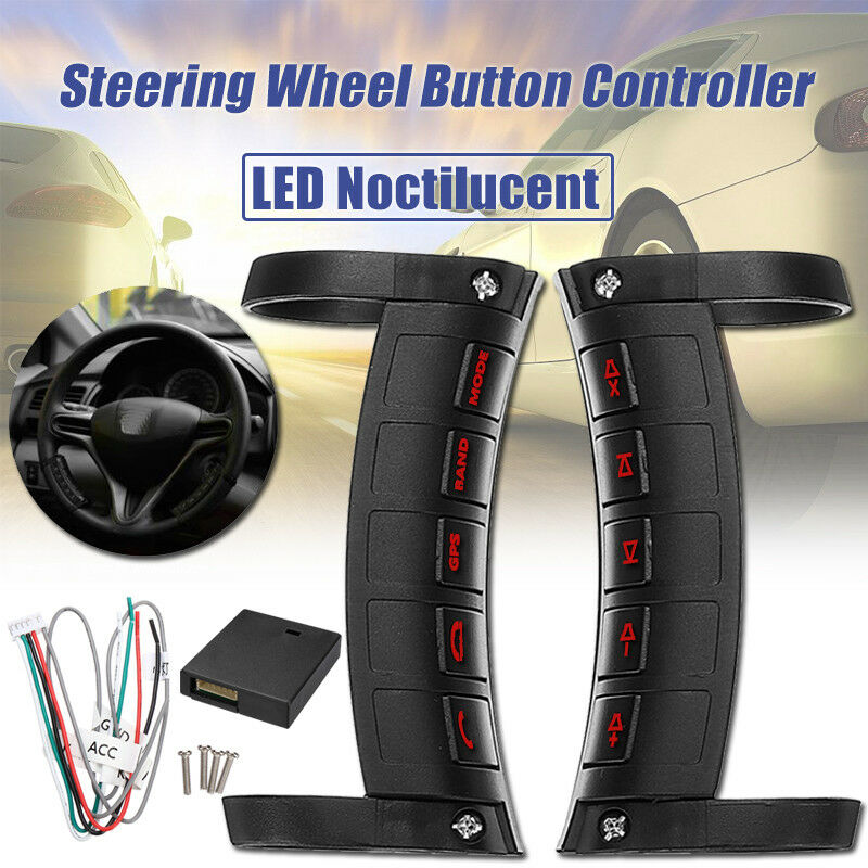 Universal Remote Control Car Steering Wheel Button Remote Control Bluetooth DVD Navigation Button Remote Controller LED Wireless