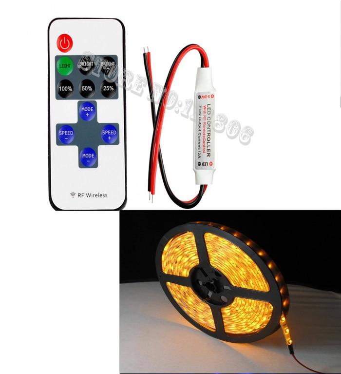 Мини Беспроводной РФ светодиодный контроллер удаленного РФ Диммер + 5 м 12 В 2A Водонепроницаемый 5050 150 светодиодов Желтый Гибкие светодиодные…