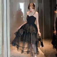 Black Spaghetti Strap Midi Dress Women Elegant Lace Patchwork Tutu Lace Party Dress Fasion Women Summer Dress Vestidos De Festa