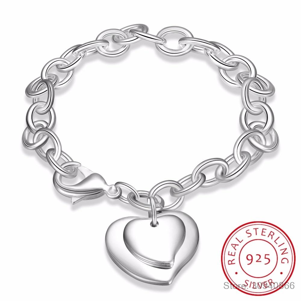 LEKANI New 925 Sterling Silver Jewelry Bracelet Silver 925 Jewelry Double Heart Bracelets For Women Charm Bracelets & Bangles