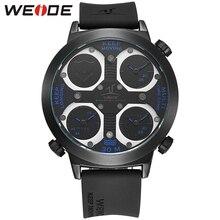 WEIDE Марка Спортивные Часы Мужчины Relogio Силиконовой Лентой Три Часовых пояса Casual Male Часы Синий Военная Кварцевые Водонепроницаемые Наручные Часы