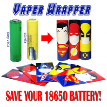 25pcs Super Hero style 18650 Battery protected Wrapper Stickers protector Skin Repair electronic cigarette Vape Battery