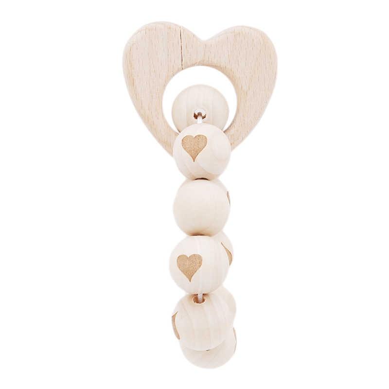 ใหม่ Baby Care อุปกรณ์เสริม Teether 1 ชิ้นเด็กทารก Rattles Teething Sensory Beech ไม้ของเล่นเด็ก Teether Baby Teether