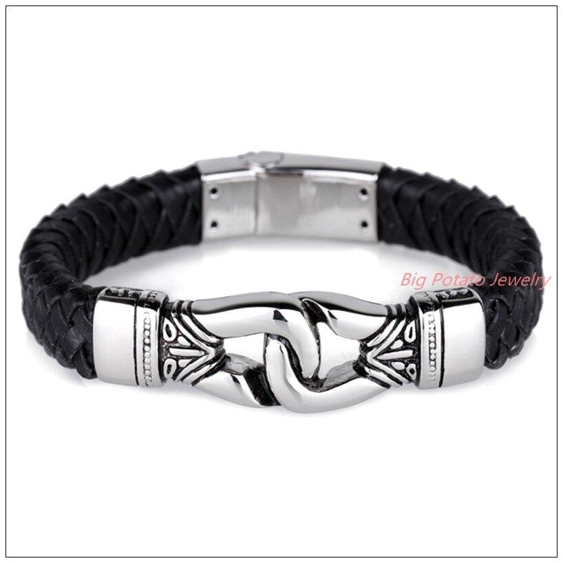 "8.2/"" Black Silicone Silver Tone Link Cross Men/'s Stainless Steel Bangle Bracelet"