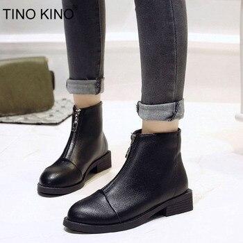 TINO KINO/новые женские осенние ботильоны на молнии, женские классические удобные ботинки на толстом среднем каблуке, женские модные черные бот...