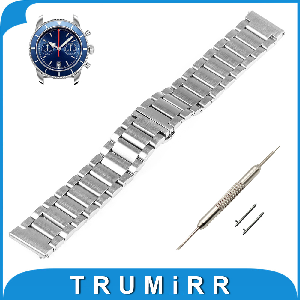 20mm 22mm Stainless Steel Watch Band Quick Release Strap for Breitling Butterfly Buckle Belt Bracelet Black Gold Silver stainless steel watch band 20mm 22mm for cartier butterfly buckle strap quick release loop belt bracelet black silver tool