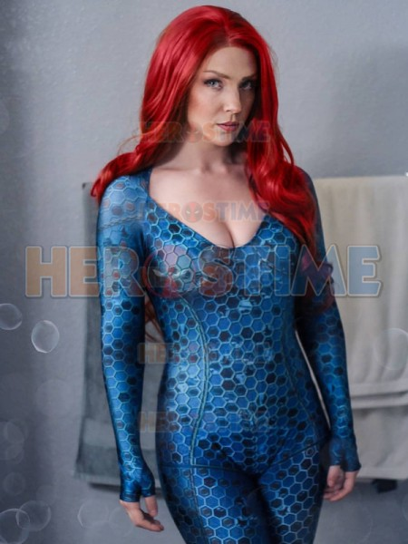 3D Printed Aquaman Film 2018 Version Queen Mera Suit Lycra Spandex Justice League Movie Superhero Cosplay Zentai Body suit