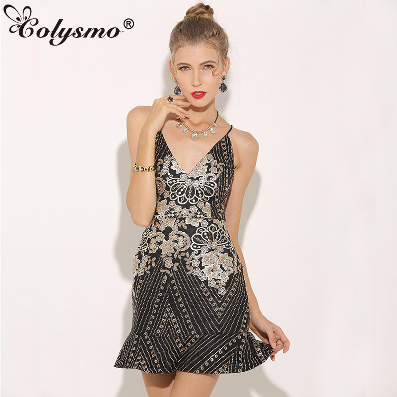 166a9286bd Colysmo Sexy V-Neck Lace Up Floral Sequin Dress Backless Spaghetti Strap  Women Ruffles Party Dress Club Bodycon Dress Black New
