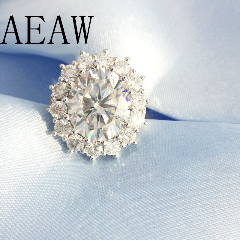 AEAW 10ctw ct DF Color Lab Grown Oval Moissanite Diamond Ring Solitaire Engagement Wedding Ring 14K 585 Yellow and White Gold transgems 18k white gold 0 5 carat 5mm lab grown moissanite diamond solitaire pendant necklace for women jewelry wedding